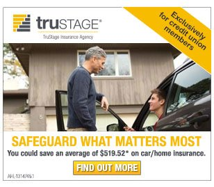 Exclusively for credit union members. Safeguard what matters most. You could save an average of $519.52* on car/home insurance. Find out more.